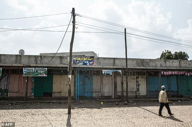 Stores are closed March 5 along a street in Addis Abeba during a strike against the declaration of state of emergency