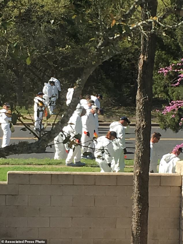 Authorities work the scene in Austin, Texas, Monday, March 19, 2018, on Republic of Texas Blvd., two houses down from where the bomb exploded Sunday evening. The photo was taken two houses from the intersection of Dawn Song and Eagle Feather, where the bomb exploded. (Caroline Smith via AP)