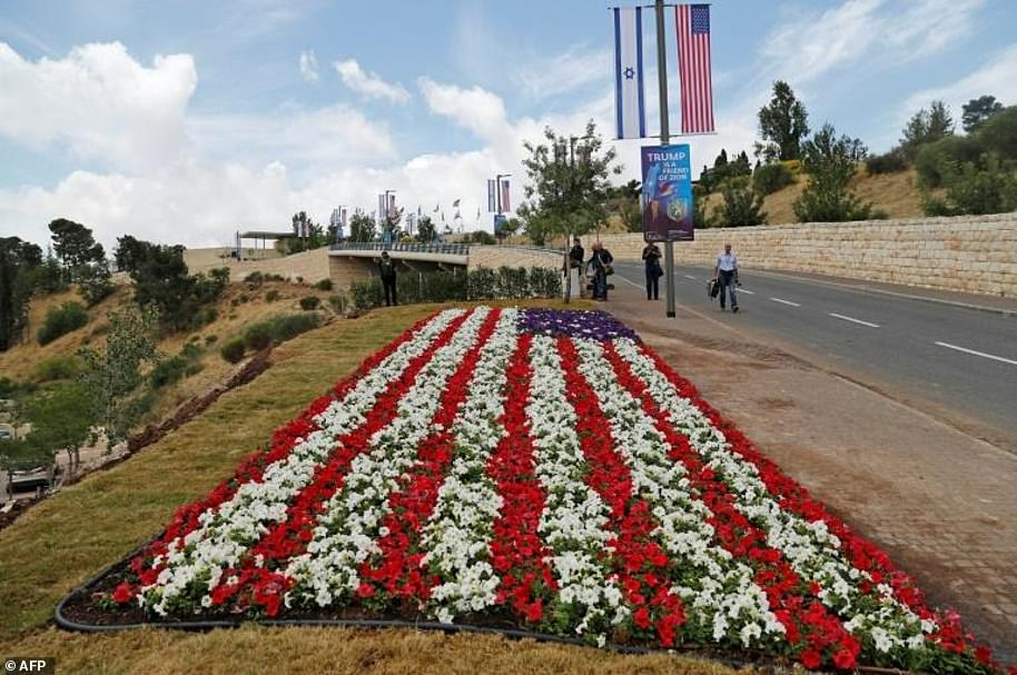 A Stars and Stripes flower bed outside the new US embassy compound in Jerusalem