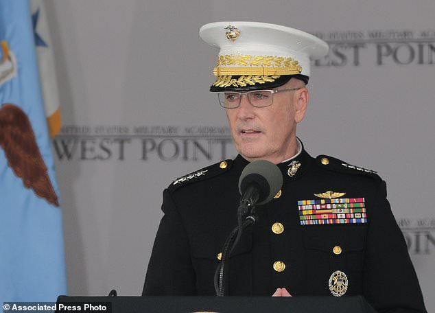 FILE - In this May 26, 2018 file photo General Joseph F. Dunford Jr., Chairman of the Joint Chiefs of Staff, gives the graduation address during graduation ceremonies at the United States Military Academy, in West Point, N.Y. The Finnish Defense Forces said Gen. Joseph Dunford, current chairman of the Joint Chiefs of Staff, and Russia's chief of the military's General Staff, Gen. Valery Gerasimov, will meet in Helsinki to discuss