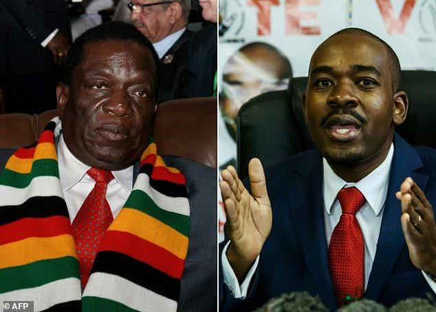 Head to head: President Emmerson Mnangagwa, left, and opposition leader Nelson Chamisa are the front-runners in Monday's elections