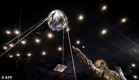 A full-scale replica of the world's first artificial satellite Sputnik, which was launched by the Soviet Union from a testing range in Kazakhstan on October 4, 1957