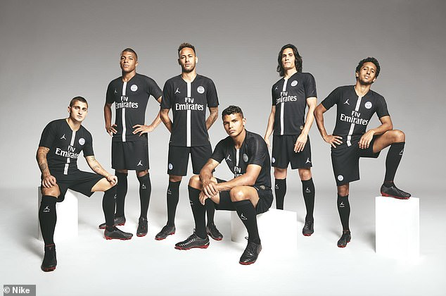 (Left to right) Marco Verratti, Kylian Mbappe, Neymar, Thiago Silva, Edinson Cavani and Marquinhos will run out in the special edition kit for the first time against Liverpool
