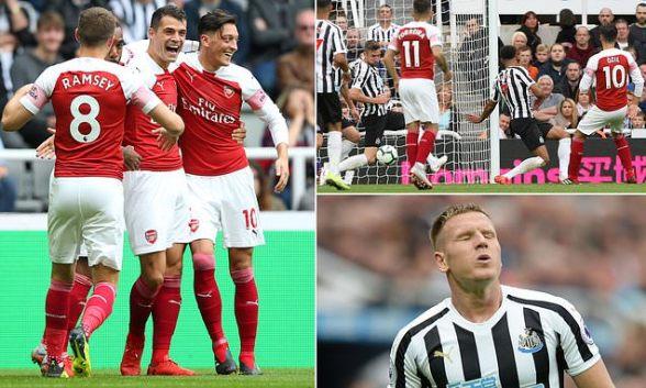 نتيجة بحث الصور عن Xhaka scores sensational free-kick to sink Newcastle as improving Arsenal claim third consecutive win