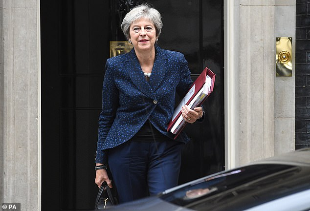 The Prime Minister, pictured leaving No10 on Wednesday, was only given ten minutes to deliver her Brexit pitch