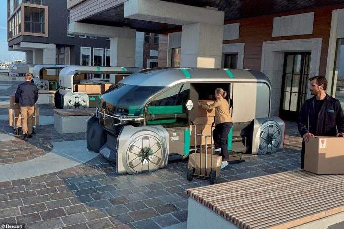 The leader pod hosts a human concierge who supervises the delivery of goods and services and the fleet following behind, and can use an office-like section of the cab to catch up on paperwork