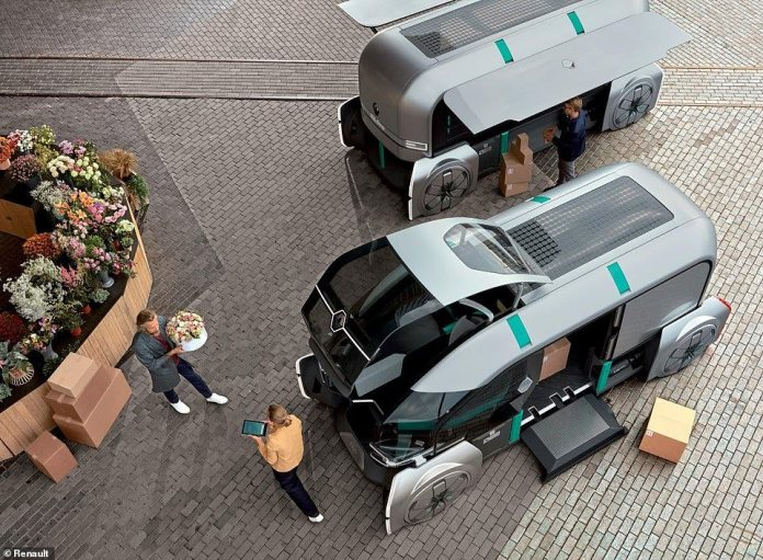 Deliveries of the future could arrive at your door in autonomous pods if a concept design created by Renault comes to fruition.Its EZ-PRO electric vehicle is a fully customisable lightweight van designed to overcome the last mile delivery problem faced by online retailers and others