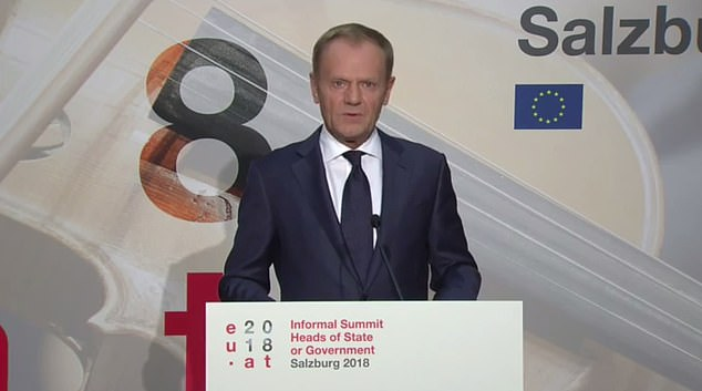 Speaking as the crucial summit kicked off in Salzburg, EU council president Donald Tusk said there was 'more hope but less time' to strike a Brexit deal