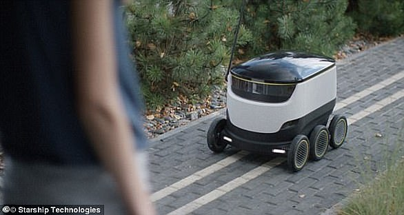 Another company, Starship Technologies, envisions its autonomous delivery service using land-based robots (pictured)