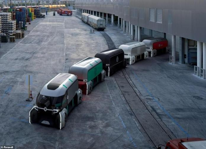 Fleets of the driverless pods can serve as everything from a coffee truck to a delivery van and can either follow each other by 'platooning' in a chain or can move independently of one another
