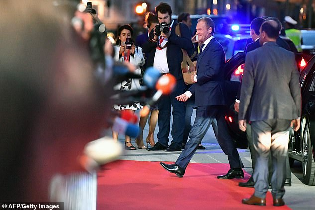 Mrs May arrived in Salzburg to a new warning from EU Council President Donald Tusk (pictured last night arriving at the dinner) that she must 'rework' her idea to make them palatable to Brussels
