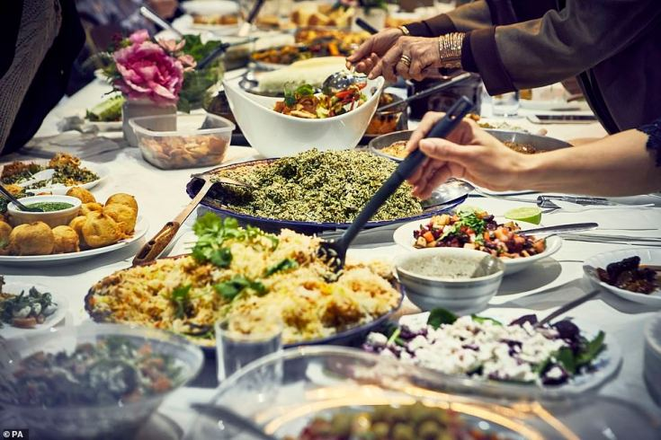Food on the table in the Hubb Community Kitchen at the Al Manaar Muslim Cultural Heritage Centre in West London