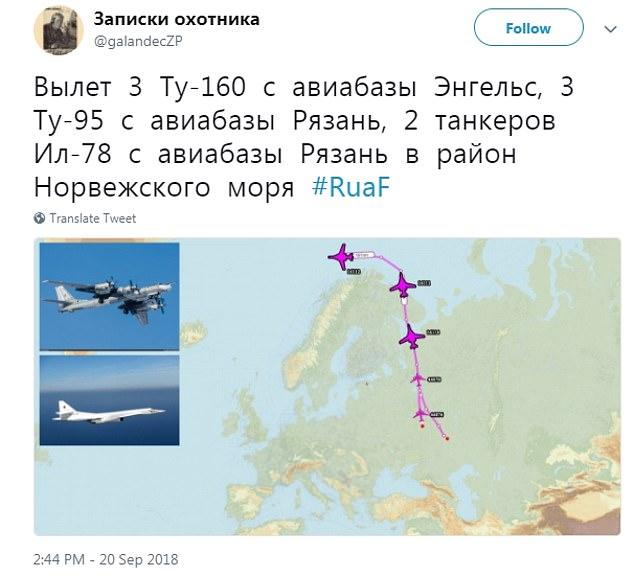 Russische Webseiten schlugen vor, dass Militärflugzeuge von Stützpunkten in der Nähe von Moskau gestartet waren und über den Polarkreis in Richtung Großbritannien unterwegs waren