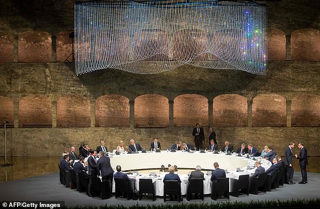 Over dinner last night (pictured), gathered EU leaders were told that Britain would be prepared to walk away from the negotiating table if a deal was not struck quickly