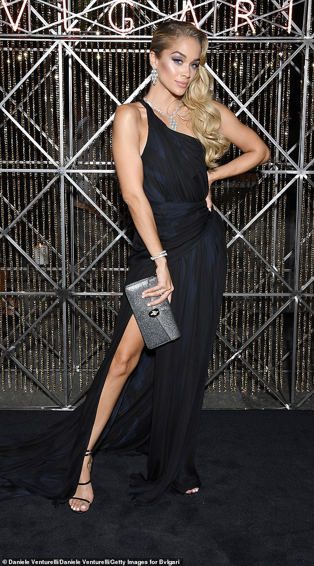 Stunning:The 21-year-old brunette bombshell was joined by Jasmine Sanders (pictured) who dazzled in a pleated navy gown