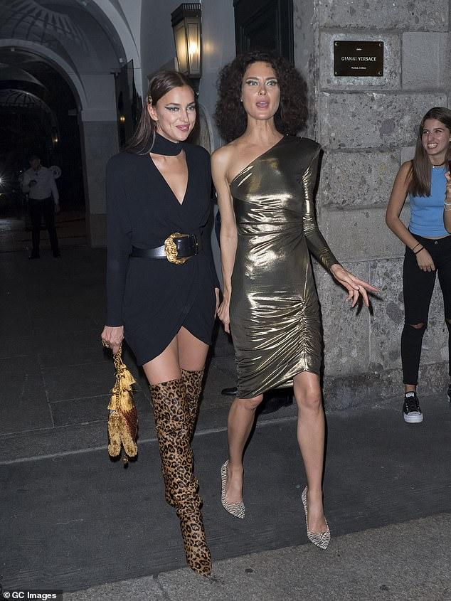 Leggy: Supermodel Irina Shayk also stepped out in the Italian city