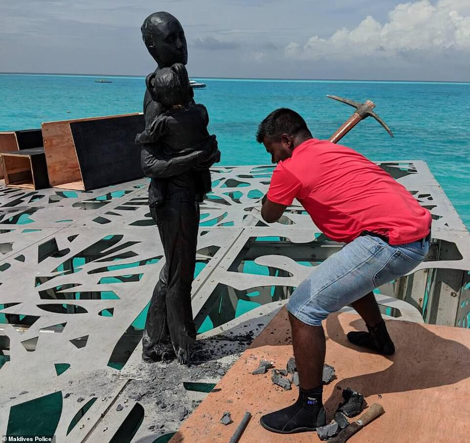 Last Friday, police were ordered to destroy the sculpture after outgoing Maldives president Abdulla Yameen ruled it was offensive to Islam