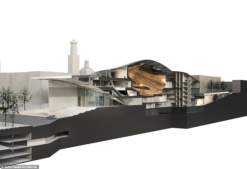 The architects say the new venue will meet the increasing popularity of the orchestra's programme of concerts. Pictured is a 3D cross section of the planned new building