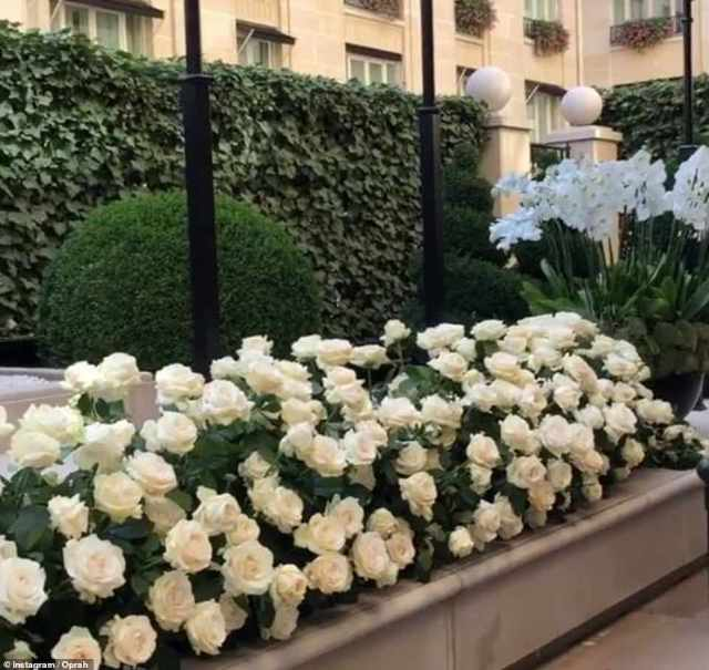 Flower power:Oprah got the royal treatment the morning after the ceremony with a massive flower delivery (above)