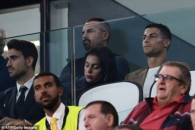Cristiano Ronaldo watches from the stands alongside girlfriend Georgina Rodriguez