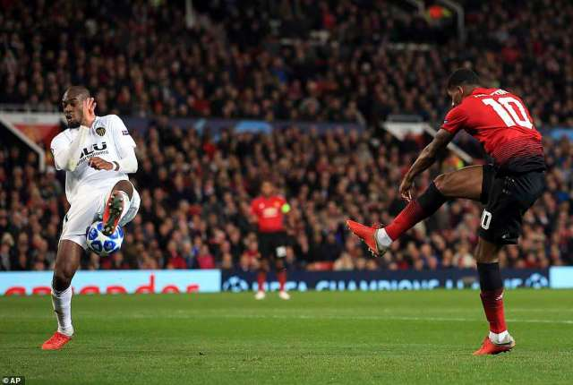 Marcus Rashford had one of the better efforts of the first-half but his shot was well blocked by Geoffrey Kondogbia