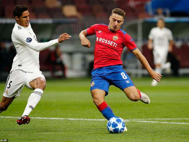 CSKA Moscow took the lead inside two minutes when midfielder Nikola Vlasic latched onto a loose Toni Kroos pass
