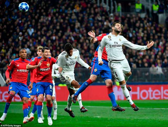 Nacho Fernandez tries to flick the ball on at the near post from a set piece but the Spanish side were unable to capitalise