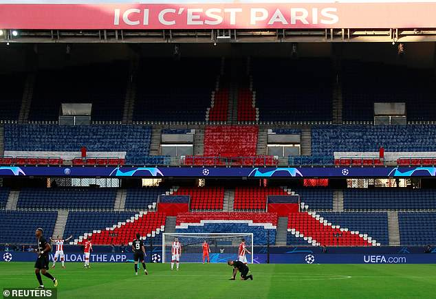A section of the stadium was empty after a UEFA sanction following PSG's clash vs Real Madrid