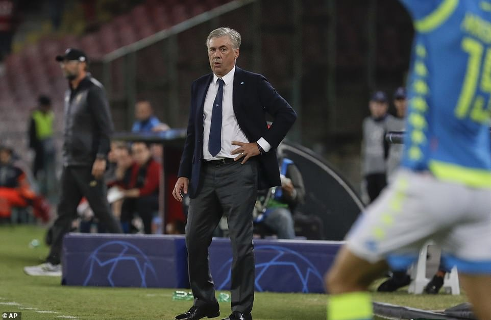 Napoli manager Carlo Ancelotti looks calm and collected on the touchline as he watches events unfold on Wednesday night