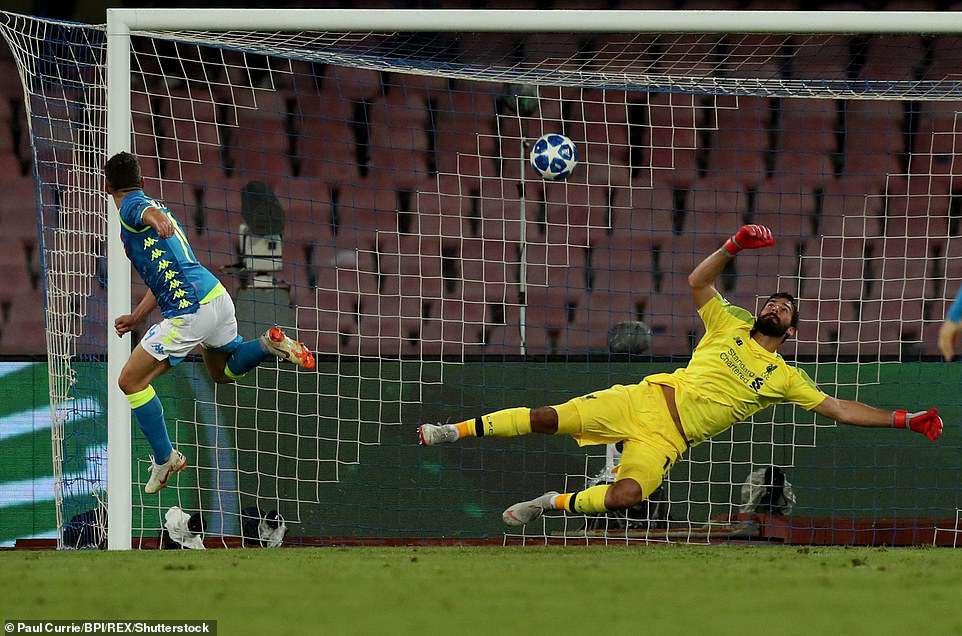 Dries Mertens of Napoli hits the crossbar after latching onto the cross from Insigne in one of the game's best chances