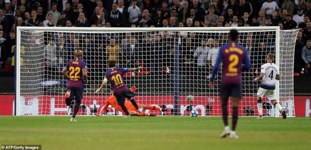 Spurs were caught trying to play out from the back and the ball fell to Messi who had an easy task to finish past Lloris