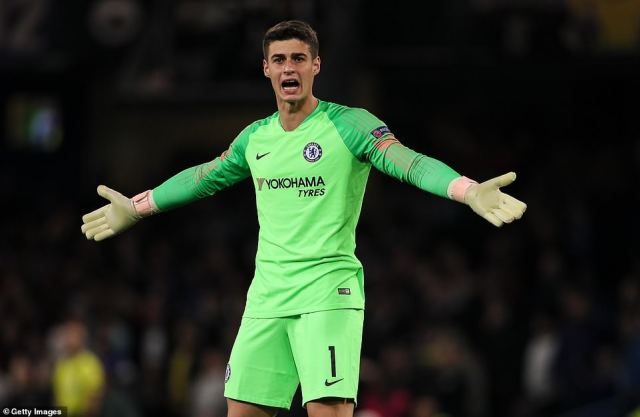 Arrizabalaga calls out to his Chelsea team-mates after the Hungarian champions found a way into the home penalty area