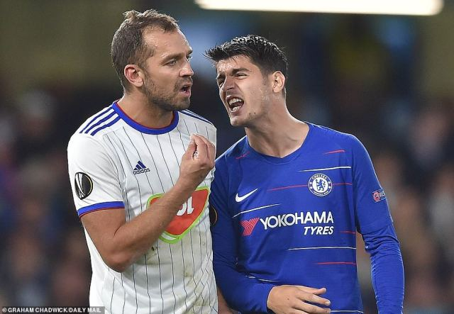 Morata was also confronted by Ronald Juhasz who also felt the striker had scored after fouling his Vidi team-mate