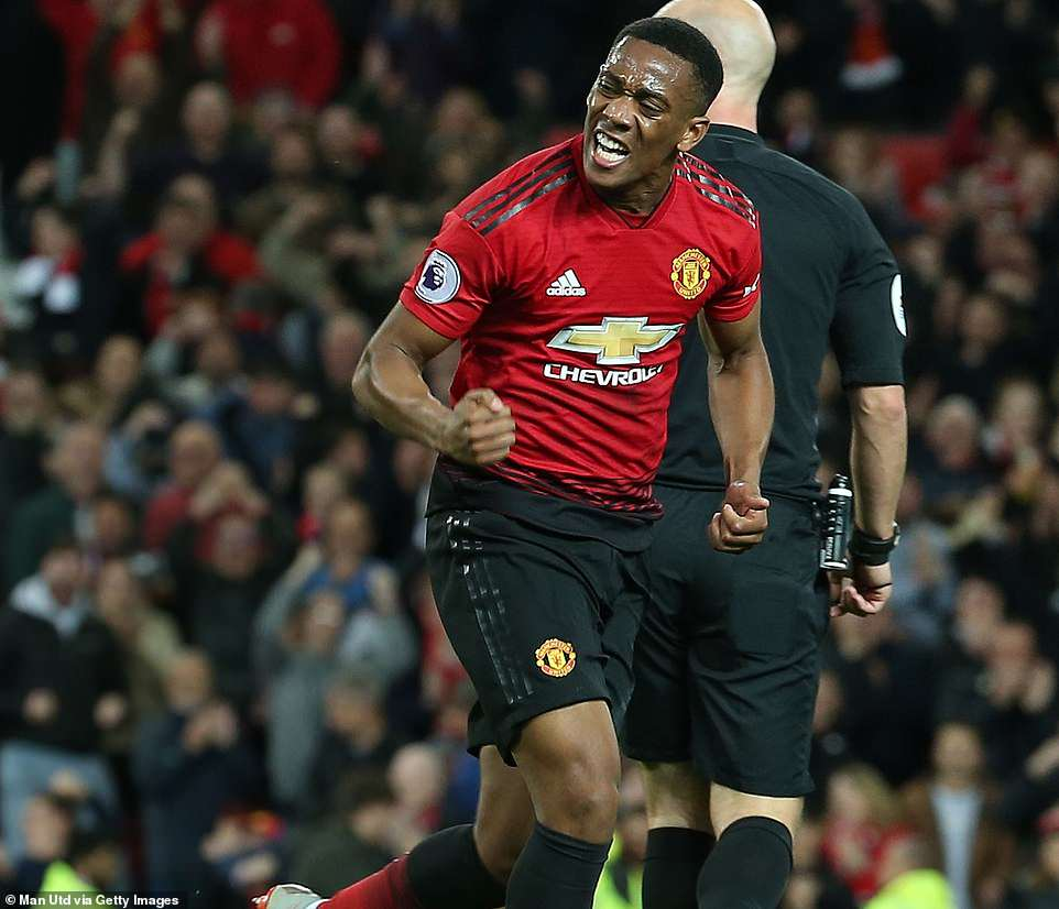 Anthony Martial expresses his delight after his goal drew United level against Newcastle in an entertaining game