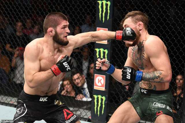 The bad blood between the two fighters was obvious from the opening exchanges as Khabib landed a heavy right hand