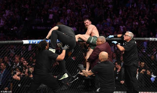 But the fight ended sourly as Khabib leaped from the octagon to fight in the crowd with McGregor trying to follow the Russian