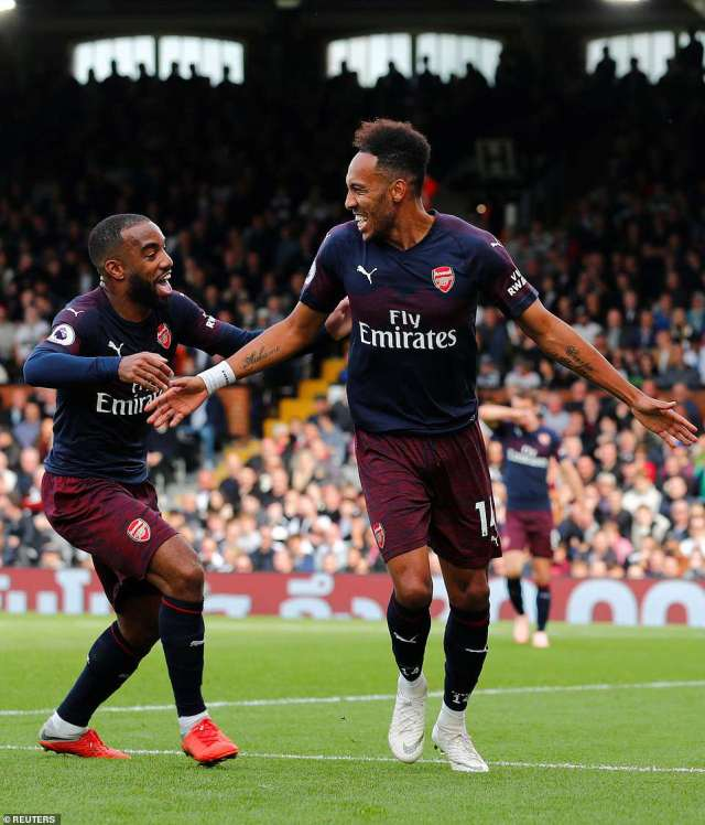 Not wanting to be left out, Pierre-Emerick Aubameyang came off the bench to match Lacazette with a late brace of his own