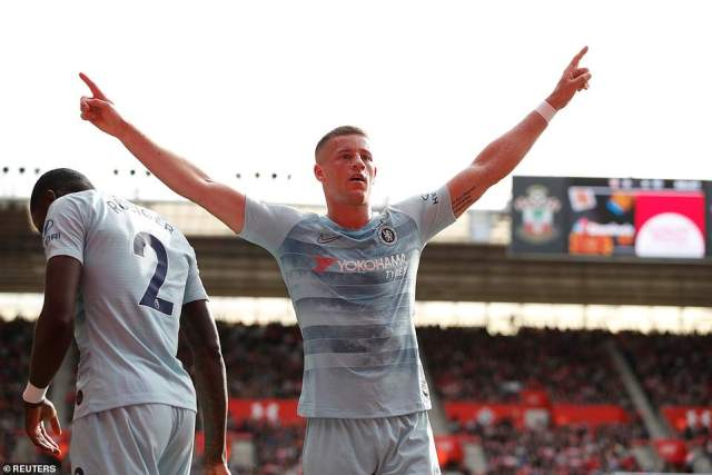 Barkley was celebrating again in the second half after getting on the scoresheet himself to net his first goal for the Blues