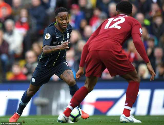 Former Liverpool forward Raheem Sterling takes on Joe Gomez as he looked to help break the deadlock in the first half