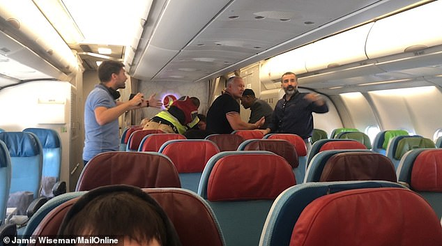 Argument: Several passengers demanded that the man be thrown off the plane, which eventually departed from Heathrow to Istanbul