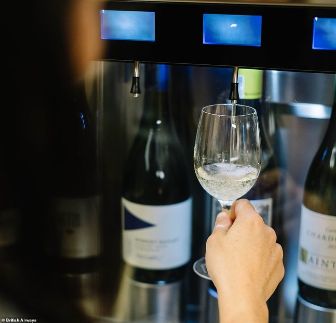 The wine room boasts a dispenser that gives customers wines to enjoy at exactly the right temperature and that have been oxidized to the correct level