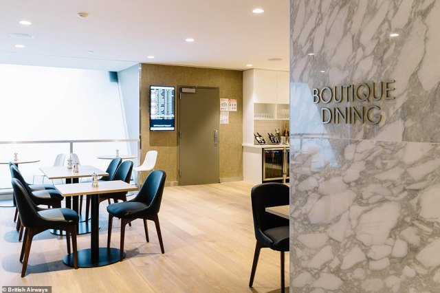 The dining room in the first class lounge has been given an upgrade and now offers a 'boutique' menu by executive chefsGavin Mackenzie and Waylon Walker
