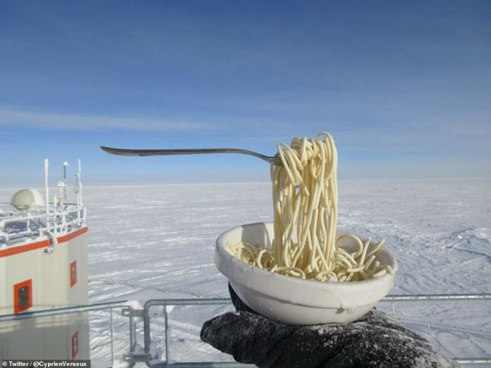 Dinner time: Dr Verseux tries to cook up a storm with the food supplies the team has available. Temperatures on the isolated continent can drop to well below -70°C (-94°F), making it impossible to access or use vehicles