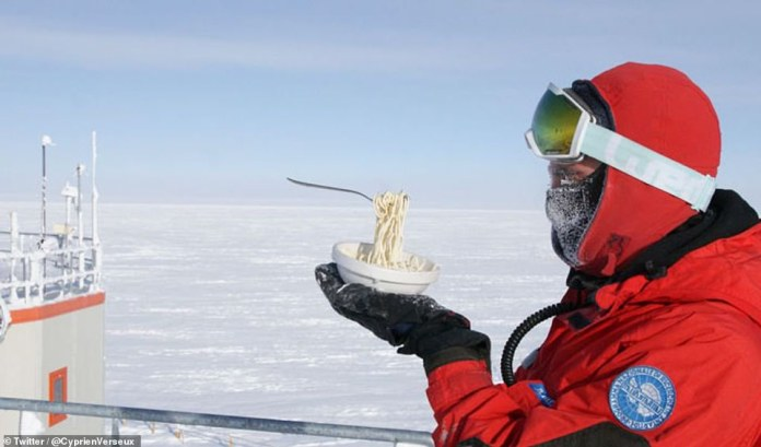 This scientist might have bitten off more than he could chew after these incredible images document his meal time struggles. Dr Verseux (pictured) tried his hand at cooking some noodles whilst in Antarctica