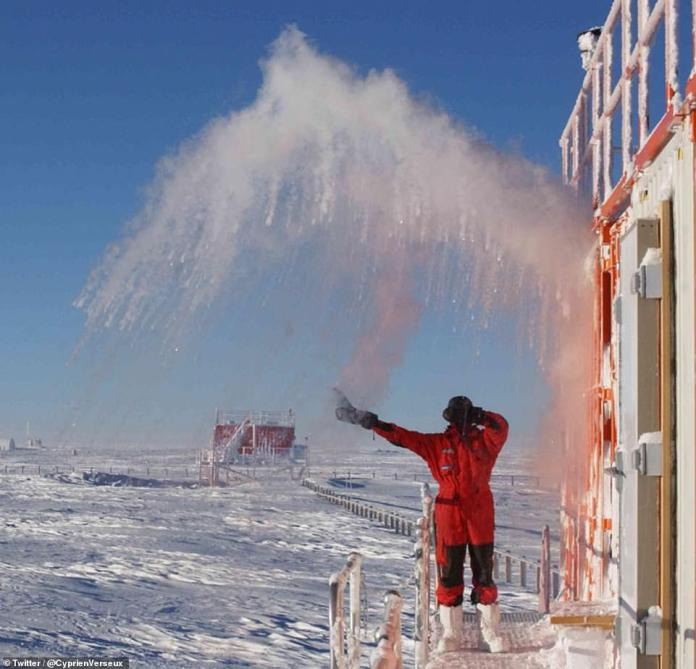 To help keep himself busy in between collecting samples about climate in previous eras, Dr Verseux has been keeping a blog and sharing his everyday experiences from the extreme environment. As temperatures plummet he demonstrates how fast water can turn to ice