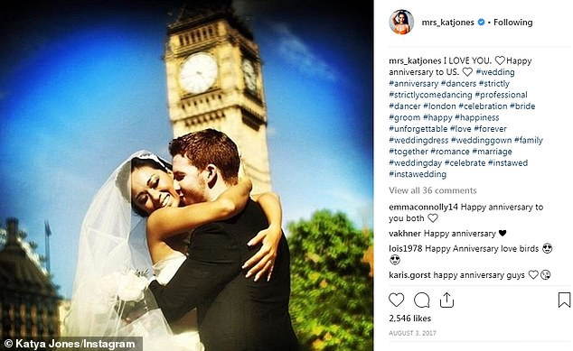I love you: In 2017 Katya shared this shot, celebrating their four-year wedding anniversary