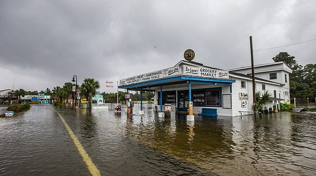 A grocery store in Saint Marks, Florida, is left flooded in the wake of Hurricane Michael. The Foreign Office says Brits heading to affected areas of Florida should monitor local weather updates