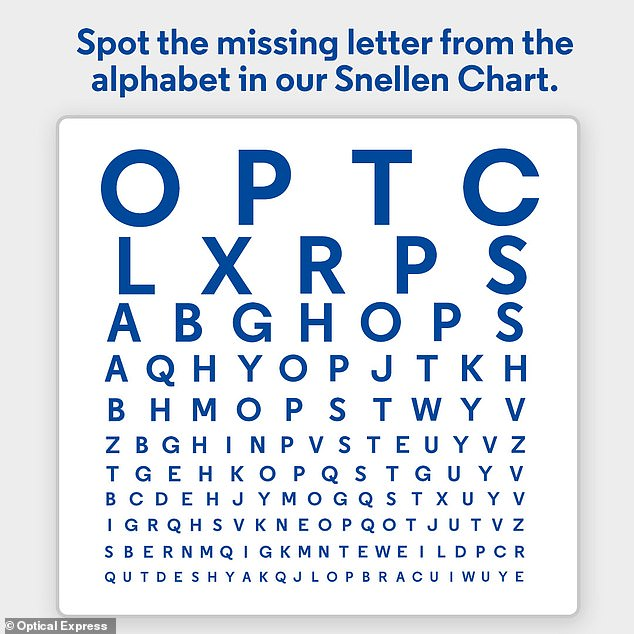 Can you spot the missing letter? The team at Optical Express has adapted the traditional Snellen chart millions of patients are used to seeing