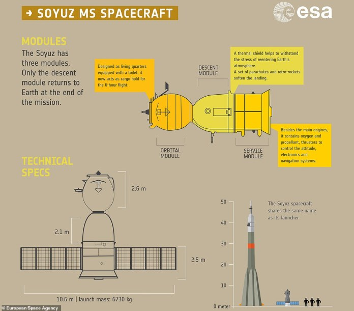The Soyuz has three separate modules: An orbital module, a descent module and a service module. Only the descent module returns to Earth