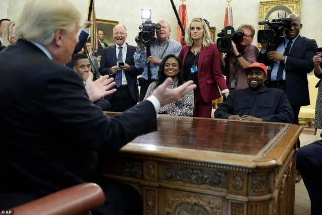 Rapport: Kanye and Trump shared a laugh at one point in the meeting which was attended by reporters